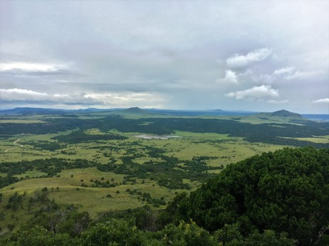 View of surrounding landscape from top of Capulin Volcano National Monument in New Mexico.