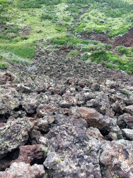 Lava rocks settled in the vent of the Capulin Volcano National Monument.